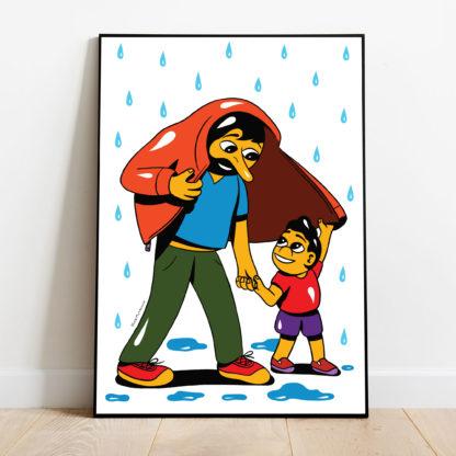 HuskMitNavn - I læ for regnen, kunstplakat til fordel for Mødrehjælpen